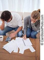 Portrait of a couple doing their accounting