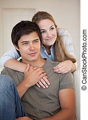 Portrait of a couple embracing