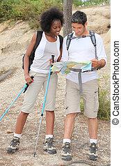 portrait of a couple hiking
