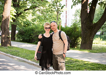portrait of a couple in the park