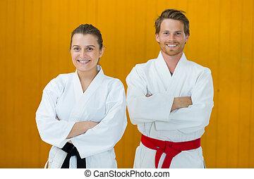 portrait of a couple judo