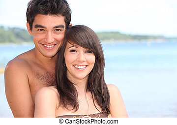 portrait of a couple on the beach