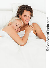 Portrait of a couple sleeping