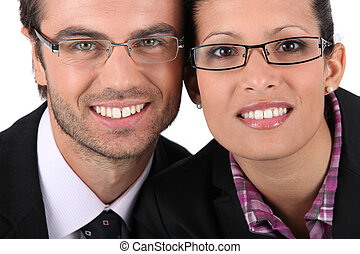 Portrait of a couple wearing glasses