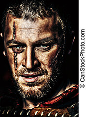 courageous - Portrait of a courageous ancient warrior in...