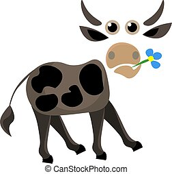 Portrait of a cow holding flower in its mouth vector or color illustration