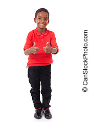 Portrait of a cute african american little boy making thumbs up gesture, isolated on white background