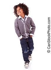 Portrait of a cute african little boy - Studio portrait of a...