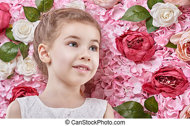 girl on the background of flowers