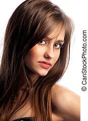 portrait of a cute brunette girl