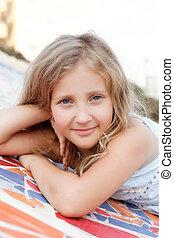 portrait of a cute girl in summer