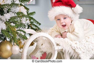 Portrait of a cute litle boy celebrating Christmas