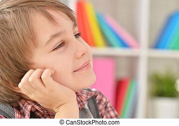 Portrait of a cute little boy close up