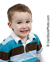 Portrait of a cute little boy. Isolated on white background
