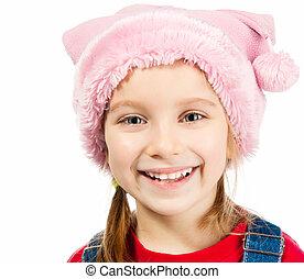 little girl in a cap