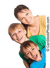 cute mom with sons
