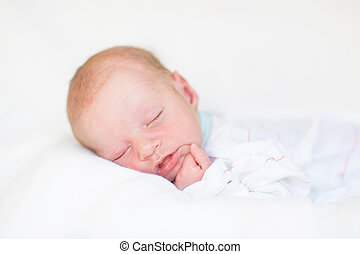 Portrait of a cute newborn sleeping baby