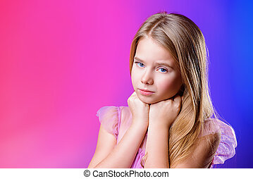 cute nine year old girl - Portrait of a cute nine year old...
