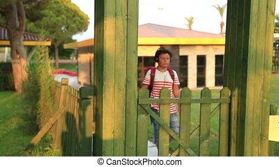 Portrait of a cute schoolboy - Portrait of happy, playful...