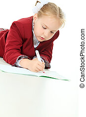 workbook - Portrait of a cute schoolgirl with pen and ...