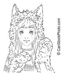 Portrait of a cute teen girl in animal hat.