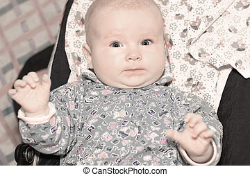 portrait of a cute three month old baby - happy three month...