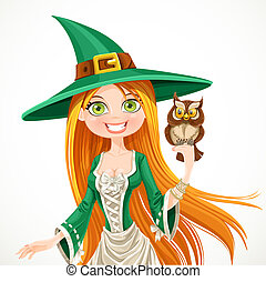 Portrait of a cute witch with a familiar owlet