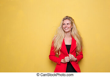 Portrait of a cute young woman smiling