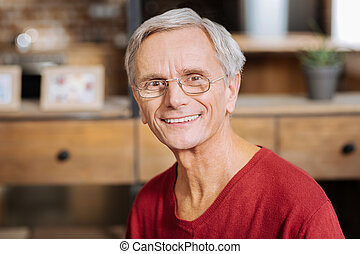 Portrait of a delighted nice man