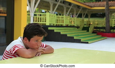 Portrait of a depressed child - Lonely, sad schoolboy...