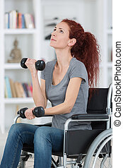 portrait of a disabled woman exercising