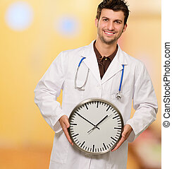 Portrait Of A Doctor Holding Clock