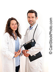Portrait of a doctor with his nurse
