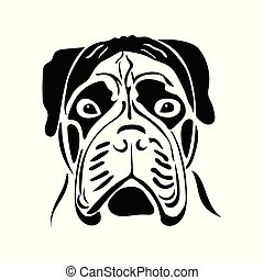 Portrait of a dog of the bullmastiff breed. Vector...