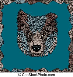 Portrait of a dog, vector graphics