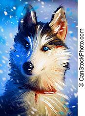 Portrait of a domestic dog husky in winter
