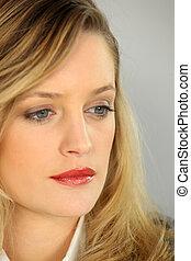 Portrait of a doubtful woman