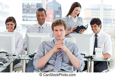 Portrait of a dynamic business team at work