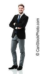 Portrait of a elegant handsome business man on white...