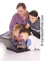 family at laptop