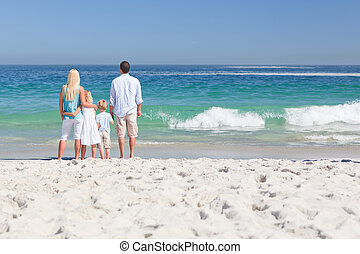 Portrait of a family on the beach