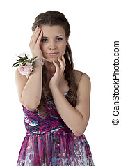 fashionable woman with corsage
