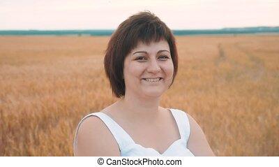 portrait of a fat fatty woman smiling. Plus size fashion...