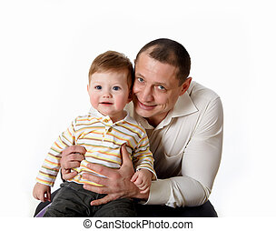 portrait of a father with his little son