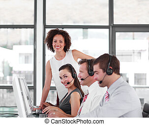 Female Business leader with her Team