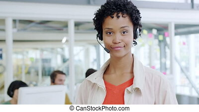 Portrait of a female call centre worker