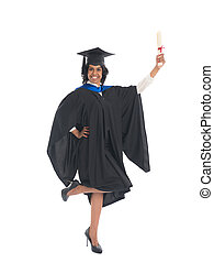 Portrait of a female graduate with her diploma
