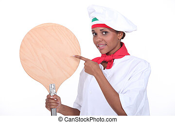 portrait of a female pizza chef