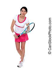 Portrait of a female tennis player