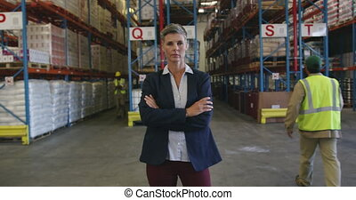 Portrait of a female warehouse manager 4k